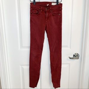NWOT Rag and Bone Burgundy Denim Skinny Jeans M3